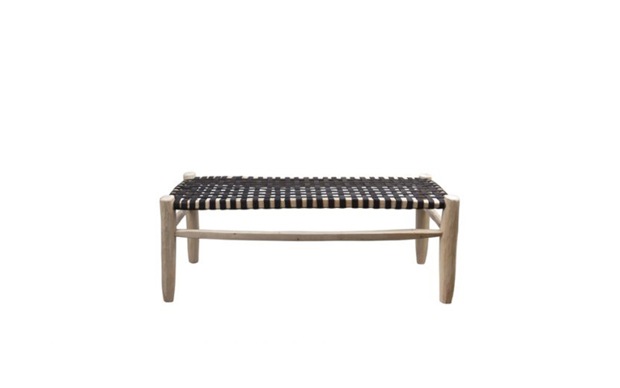 papazois.gr | HotelDeco | BENCH WITH BLACK LEATHER SEATING-HH |  | fcb50dd07d83